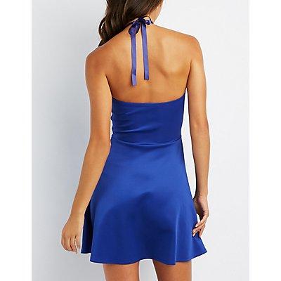 Embellished Halter Neck Skater Dress