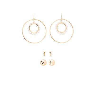 Embellished Stud & Hoop Earrings - 3 Pack