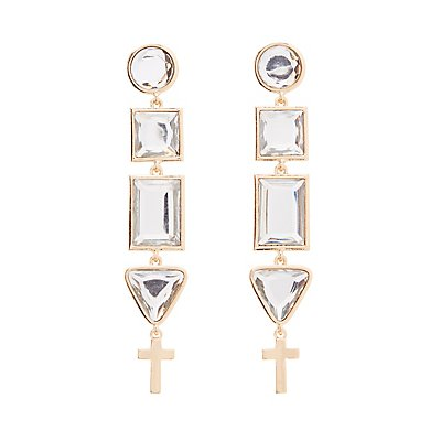 Embellished Geometric Drop Earrings