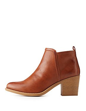 Qupid Burnished Ankle Booties