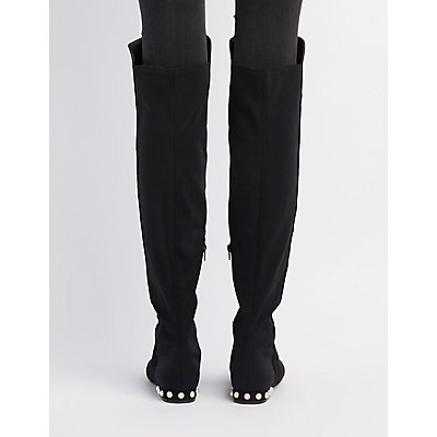 Pearl Detail Over-The-Knee Boots