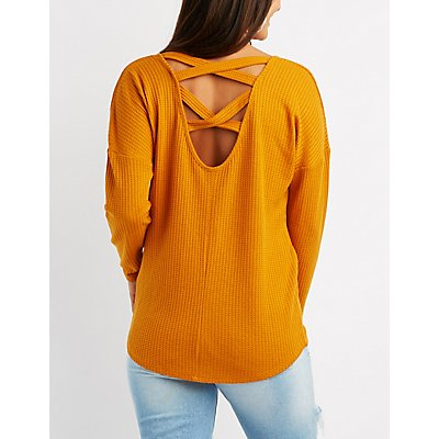 Waffled Knit Caged Top