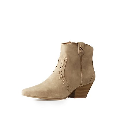 Qupid Whip-Stitched Ankle Booties
