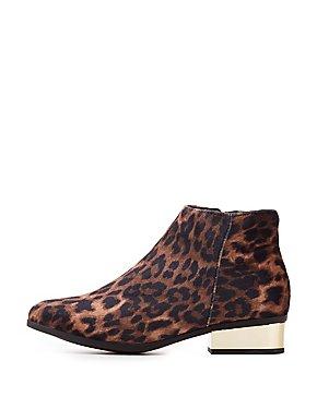 Bamboo Leopard Print Velvet Metallic Heel Ankle Booties