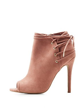 Qupid Lace-Up Back Peep Toe Booties