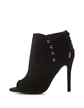 Qupid Lace-Up Detail Peep Toe Ankle Booties