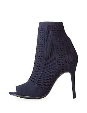 Open-Knit Peep Toe Ankle Booties