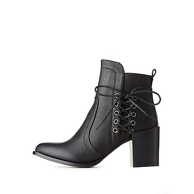 Lace-Up Detail Ankle Booties