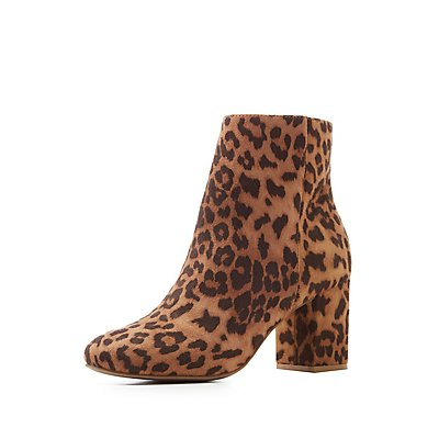 Printed Faux Suede Booties