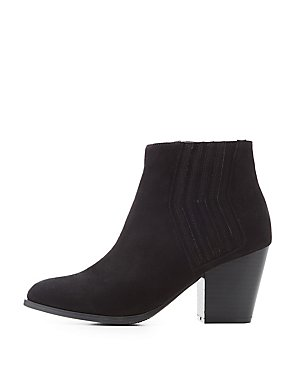 Gored Block Heel Ankle Booties