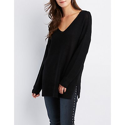 Shaker Stitch V-Neck Pullover Sweater