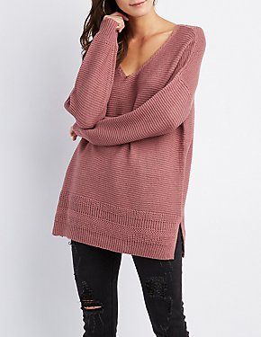 Shaker Stitch V-Neck Pullover Sweater