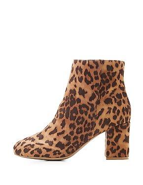 Wide Width Leopard Block Heel Booties