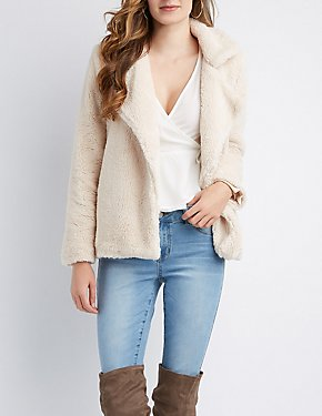 Faux Fur Notched Lapel Jacket