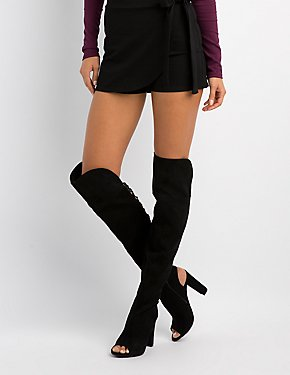 Bamboo Lattice-Back Over-The-Knee Boots