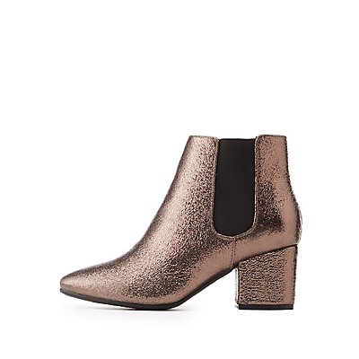 Bamboo Textured Faux Leather Gored Ankle Booties
