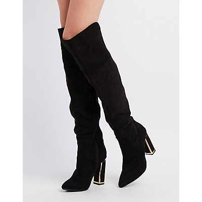 Bamboo Metal-Trim Over-The-Knee Boots