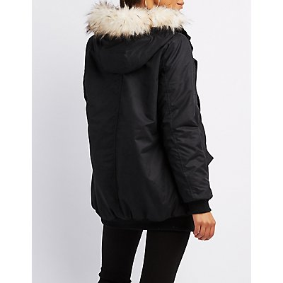 Faux Fur Hooded Long Bomber Jacket