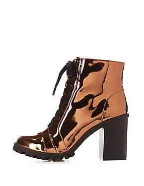 Qupid Metallic Lace-Up Combat Booties