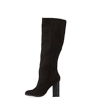 Bamboo Faux Suede Knee-High Boots