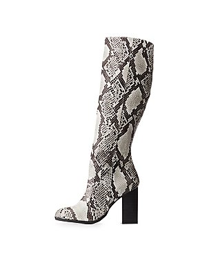 Bamboo Faux Snakeskin Knee-High Boots