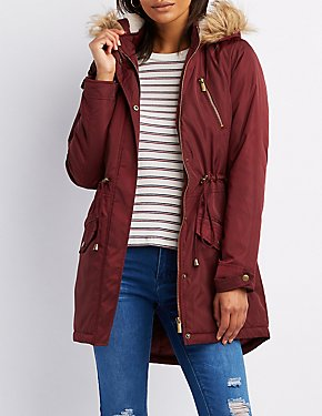Faux Fur-Trim Anorak Coat