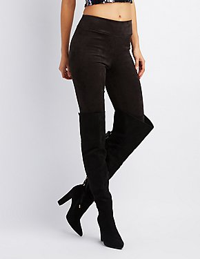 Faux Suede Lace-Up Back Pointed Toe Over-The-Knee Boots