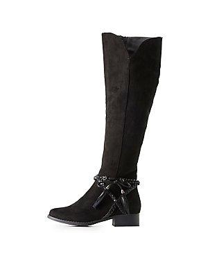 Braided-Trim Knee-High Boots
