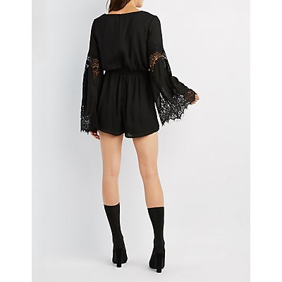 Eyelash Lace-Inset Bell Sleeve Romper