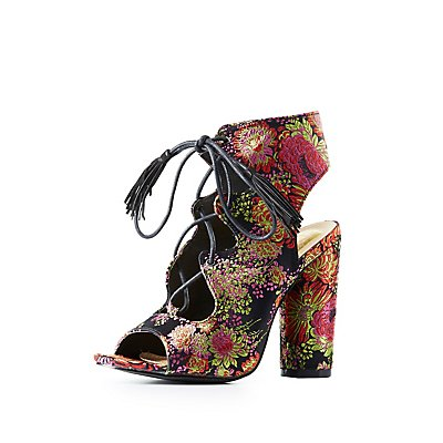 Brocade Lace-Up Slingback Sandals