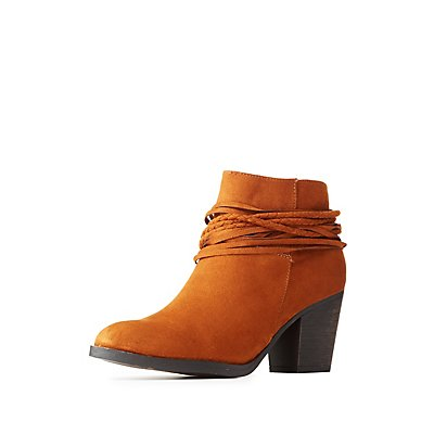 Bamboo Braided Ankle-Wrap Booties