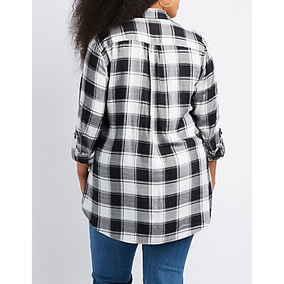 Plus Size Destroyed Plaid Shirt