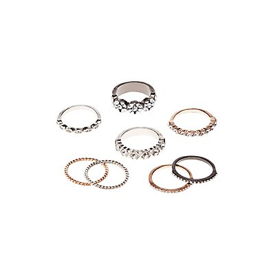Embellished Stacking Rings - 8Pack