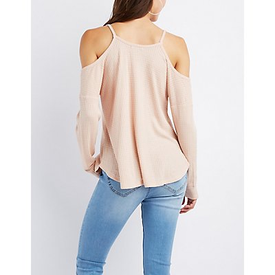 Waffle Knit Cold Shoulder Top