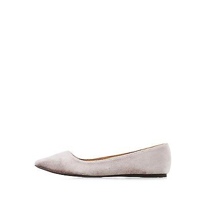 Velvet Pointed Toe Ballet Flats