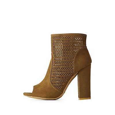 Bamboo Laser Cut Ankle Booties