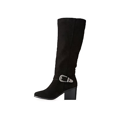 Opening Ceremony Woman Bukled Suede Over-the-knee Boots Black Size 40 Opening Ceremony