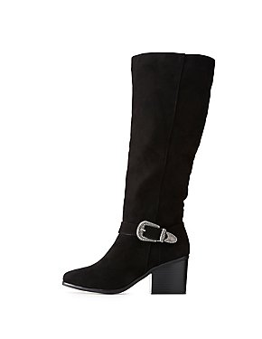 Bamboo Western Buckled Over-The-Knee Boots