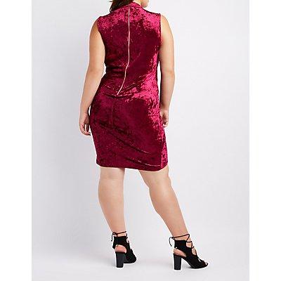 Plus Size Velvet Choker Neck Bodycon Dress