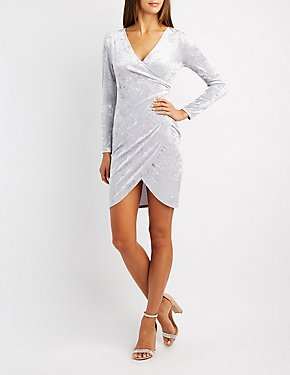 Velvet Surplice Bodycon Dress