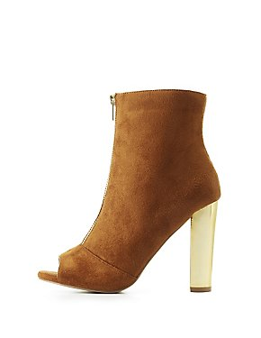 Faux Suede Zip-Front Peep Toe Metallic Heel Booties