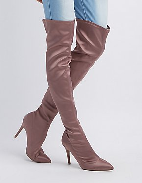 Satin Pointed Toe Over-The-Knee Boots