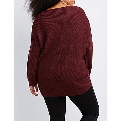 Plus Size Shaker Stitch Dolman Sweater