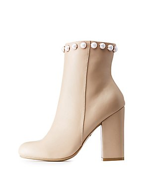 Bamboo Pearl-Trim Ankle Booties