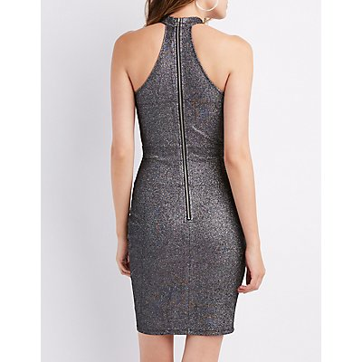 Glitter Mock Neck Bodycon Dress
