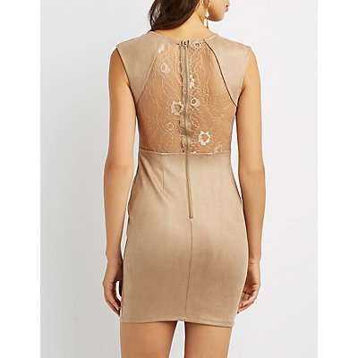 Velvet Sweetheart Lace Back Bodycon Dress