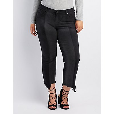 Plus Size Dollhouse Two-Tone Kick Flare Jeans
