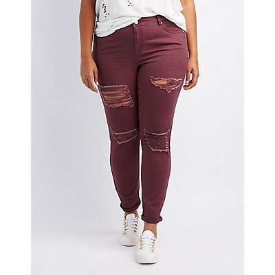 Plus Size Refuge Destroyed Skinny Boyfriend Jeans