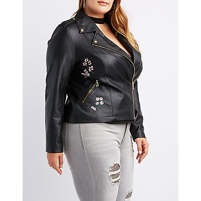 Plus Size Floral Embroidered Faux Leather Moto Jacket