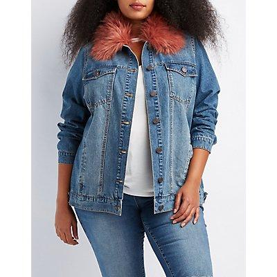 Plus Size Refuge Faux Fur-Trim Denim Jacket